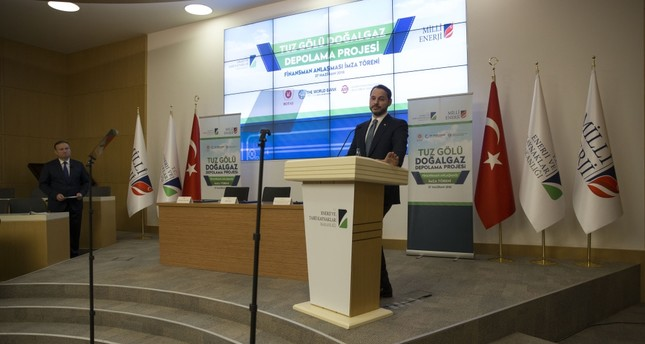 Energy and Natural Resources Minister Berat Albayrak delivers a speech during the signing ceremony of the Lake Tuz underground natural gas storage facility financing agreement in Ankara, June 27.
