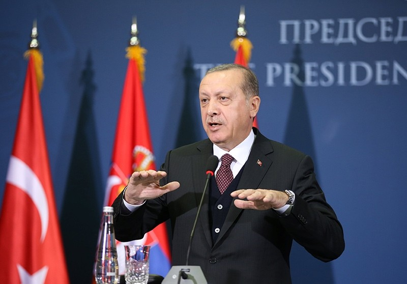 President Recep Tayyip Erdogan gestures as he speaks during a joint press conference with Serbia's President Aleksandar Vucic (not in the picture) after their meeting in Belgrade (Reuters Photo)