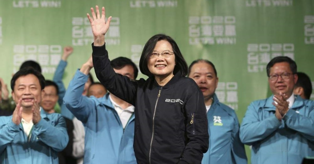 Taiwanese President Tsai Ing-wen celebrates her victory with supporters, Taipei, Jan. 11, 2020. (AP Photo)