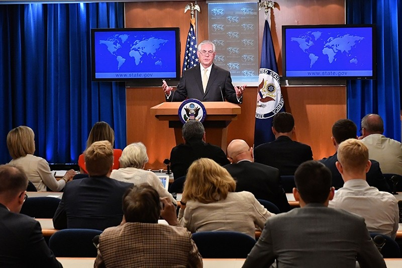 A handout photo made available by United States Department of State shows U.S. Secretary of State Rex Tillerson addressing reporters at the Department Press Briefing, at the U.S. Department of State in Washington, D.C., August 1, 2017. (via EPA)