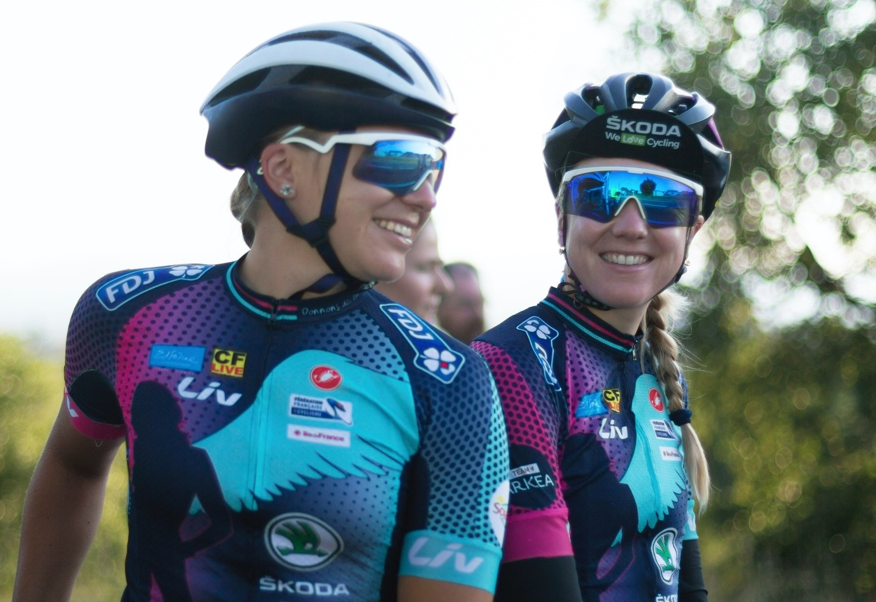 Tetiana Kalachova (L) and Christine Michelet (R), members of the female team of amateur cyclists completing the Tour de France route to raise awareness for womenu2019s cycling and promote the return of the womenu2019s Tour, in Carcassonne, France, July 23