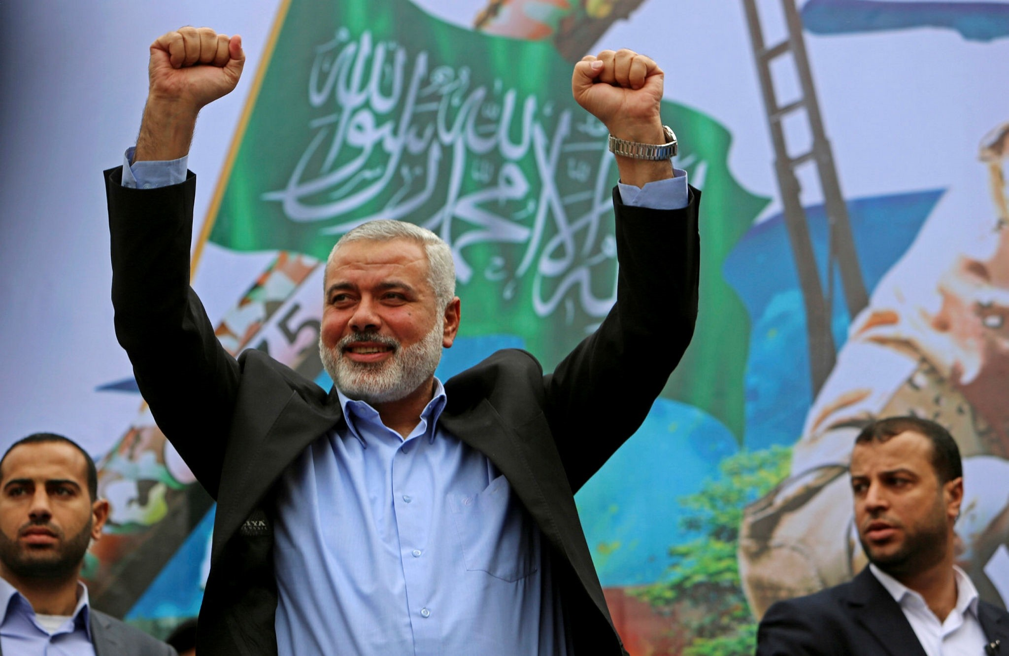 In this Friday, Dec. 12, 2014 file photo, Hamas leader Ismail Haniyeh greets supporters during a rally to commemorate the 27th anniversary of Hamas in Jebaliya in the northern Gaza Strip. (AP Photo)