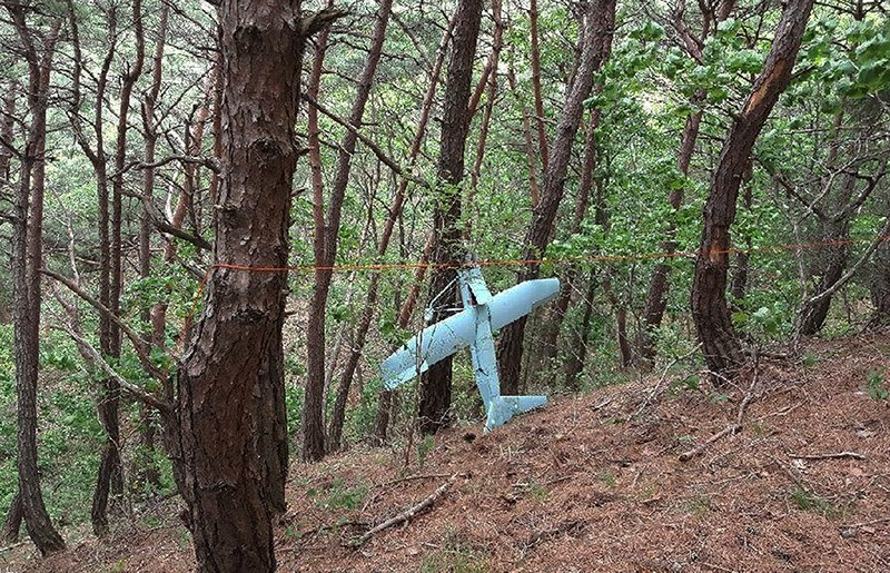 In this Friday, June 9, 2017 photo provided by South Korean Defense Ministry on Tuesday, June 13, 2017, a suspected North Korean drone is seen in a mountain in Inje, South Korea. (AP Photo)