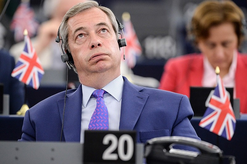 Member of the European Parliament and former leader of the anti-EU UK Independence Party (UKIP) Nigel Farage gestures during speeches at the European Parliament in Strasbourg, eastern France, on April 5, 2017. (AFP Photo)