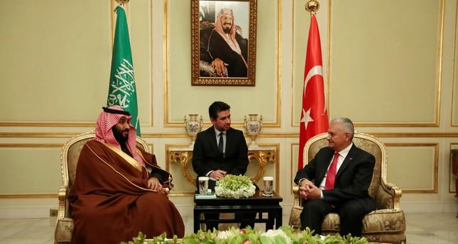 Crown Prince Salman (L) and PM Yıldırım