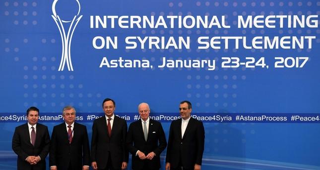 From L: Turkish MFA Deputy Undersecretary Sedat Önal, Russia's special envoy on Syria Alexander Lavrentiev, Kazakh FM Kairat Abdrakhmanov, UN Syria envoy Staffan de Mistura and Iran's Deputy FM Hossein Jaber Ansari. (AFP Photo)