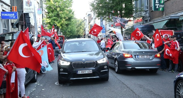 Turkish expats in Brussels, Belgium celebrate President Recep Tayyip Erdoğan's election victory in the June 24 presidential elections.