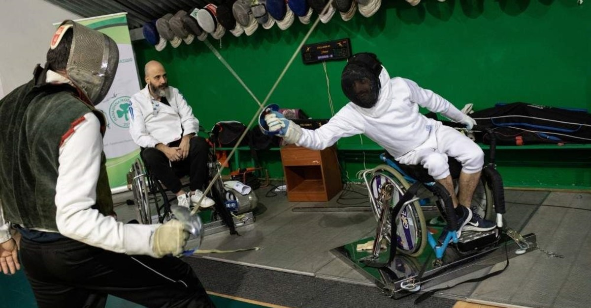 Wisam Sami trains wheelchair fencing, Athens, Dec. 9, 2019. (Reuters Photo)