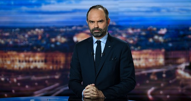 French Prime Minister Edouard Philippe poses at the French TV channel TF1 studios in Boulogne-Billancourt, near Paris, on January 7, 2019, as he makes public order announcements. (AFP Photo)