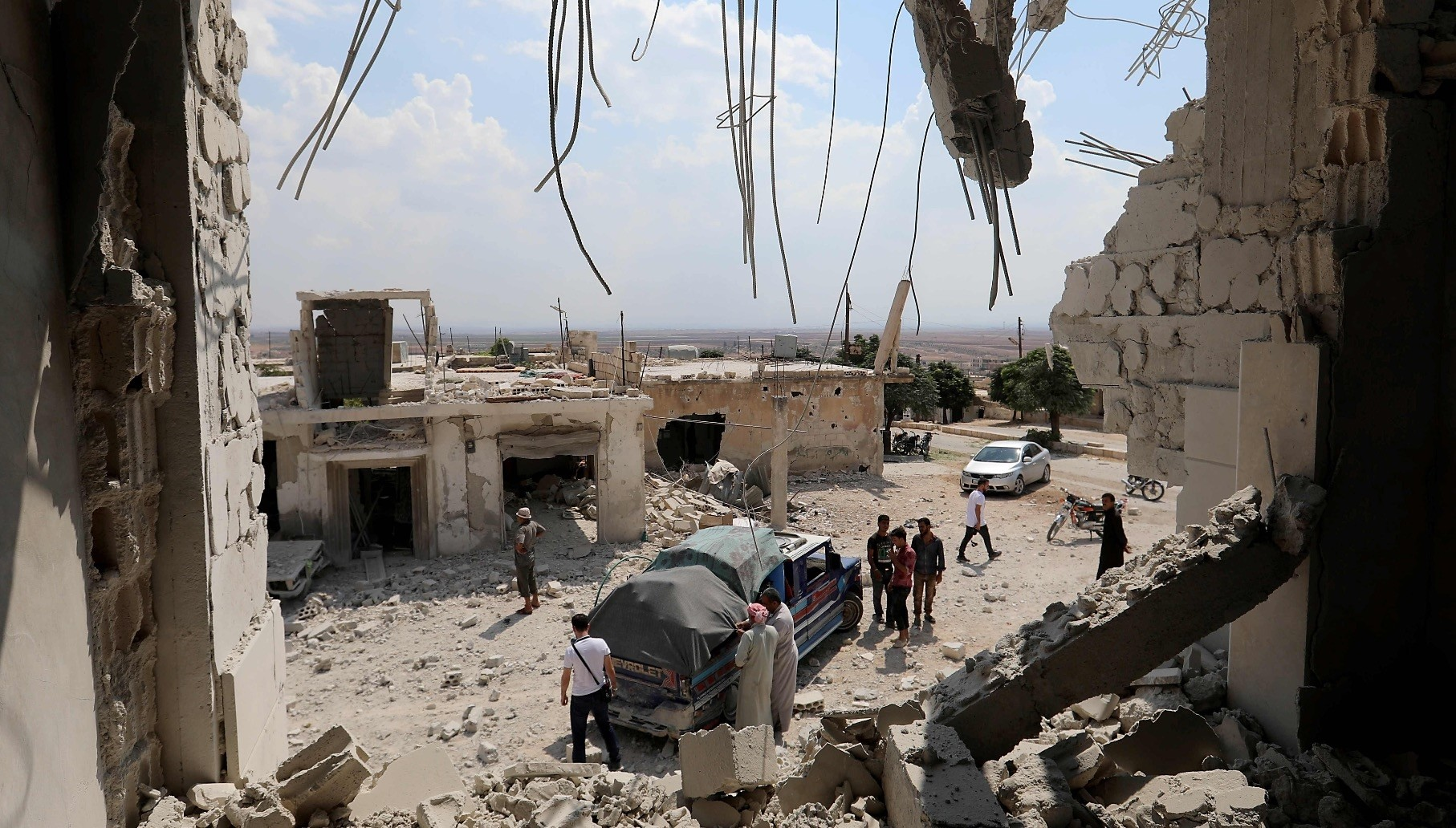 Widespread destruction can be seen after Assad regime bombings in the town of al-Habit, southern Idlib, Sept. 9.