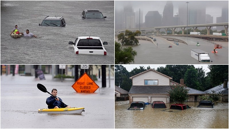 The remnants of Hurricane Harvey sent devastating floods pouring into Houston Sunday as rising water chased thousands of people to rooftops or higher ground.