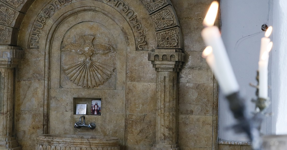 This file photo shows the Armenian church in Tel Abyad, which was opened to worship following Turkey's Operation Peace Spring. (AA Photo)