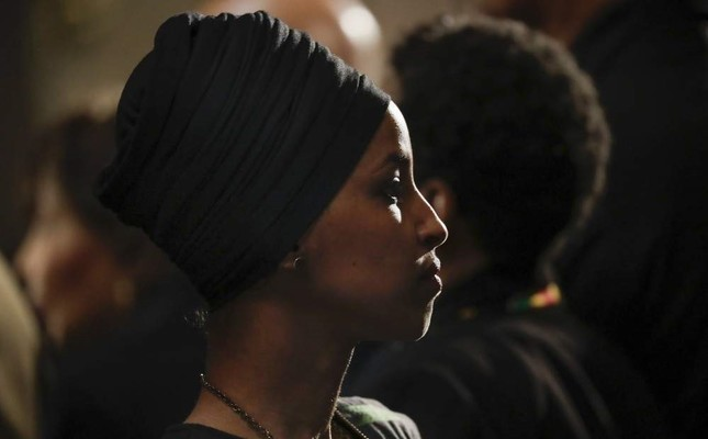 Rep. Ilhan Omar of Minnesota attends the memorial service for Rep. Elijah Cummings at the U.S. Capitol in Washington, Oct. 24, 2019. (EPA Photo)
