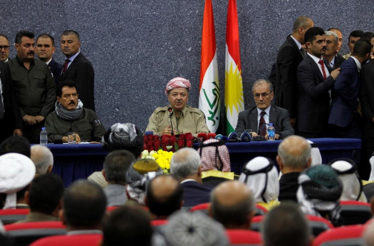 KRG President Masoud Barzani sits with Kirkuk Governor Najmaldin Karim (R) during his visit in Kirkuk, Iraq September 12, 2017. (Reuters Photo)