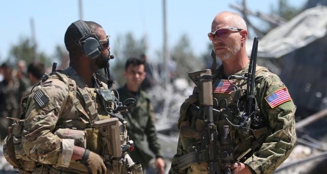 U.S. forces seen at the YPG headquarters on Mount Karachok near Malikiya, Syria, April 25, 2017.