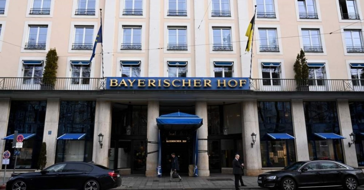 The entrance of the Hotel Bayerischer Hof, the venue of the 56th Munich Security Conference is pictured, Munich, Feb. 13, 2020. (AFP Photo)