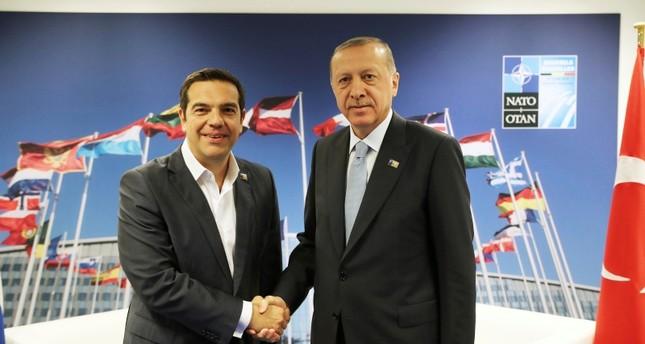 لقاء رئيس الوزراء اليوناني مع الرئيس أردوغان أمس (İHA)