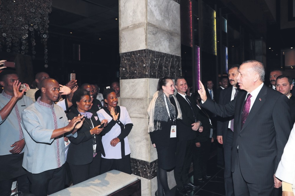 President Erdou011fan enters the hotel where he will stay during his visit to South Africa, Johannesburg, July 24.