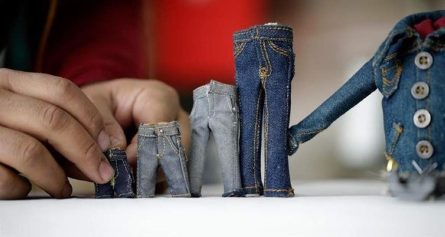 Here are a few of Andaç's miniature jean creations. AA Photo
