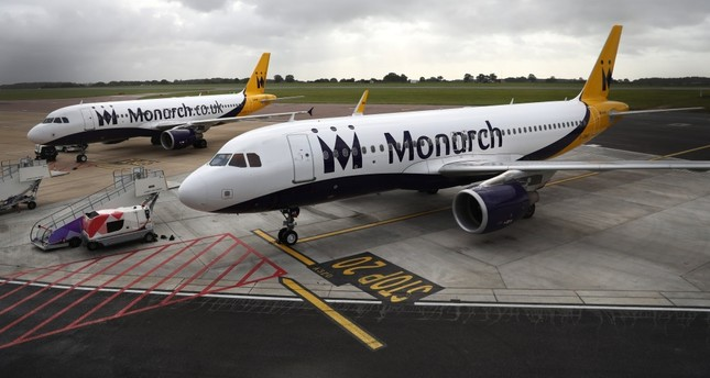 Monarch Airlines aircraft on the tarmac at Luton Airport, Luton, U.K.