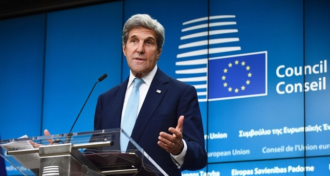 US Secretary of State John Kerry delivers a speech during a joint press conference after bilateral meeting at the EU Headquarters in Brussels, on July 18, 2016.emAFP Photo/em