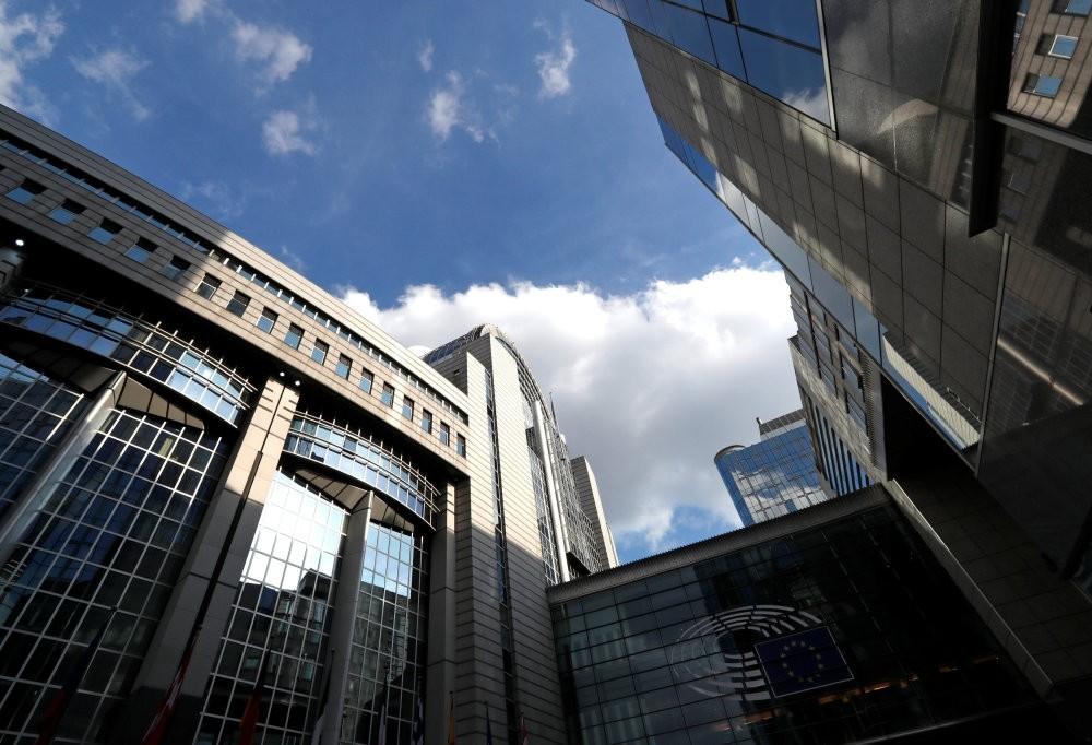 View of the European Parliament headquarters in Brussels, Belgium.