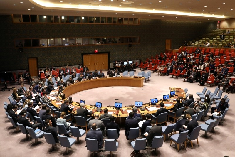 The United Nations Security Council hears a briefing by Nikolay Mladenov (on screens) as the Council meets on Israel and Palestine at U.N. headquarters in New York, U.S., May 23, 2018. (Reuters Photo)