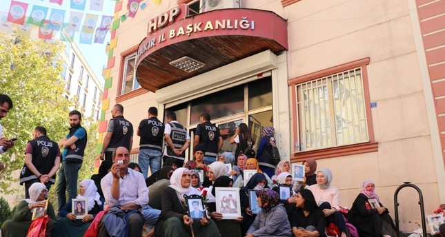 Kurdish mothers, who demand return of their children abducted by the PKK terror group, been conducting a sit-in protest in front of the Peoples' Democratic Party's HDP provincial office in Diyarbakır for more than two weeks, Sept. 18, 2019.