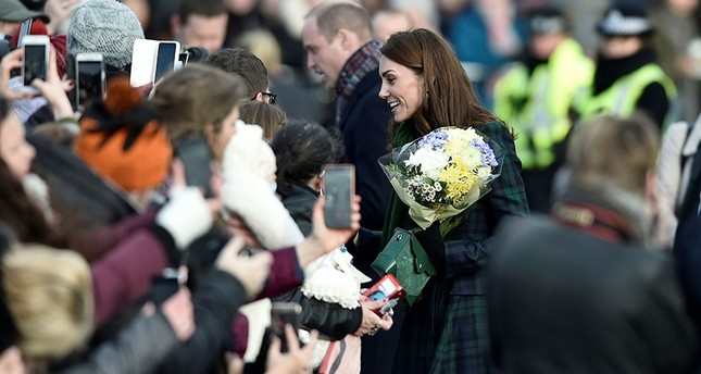 Britain's Catherine, Duchess of Cambridge greets wellwishers as she leaves after opening Dundee's V&A (Victoria and Albert) museum in Dundee, eastern Scotland on Jan. 29, 2019. (AFP Photo)