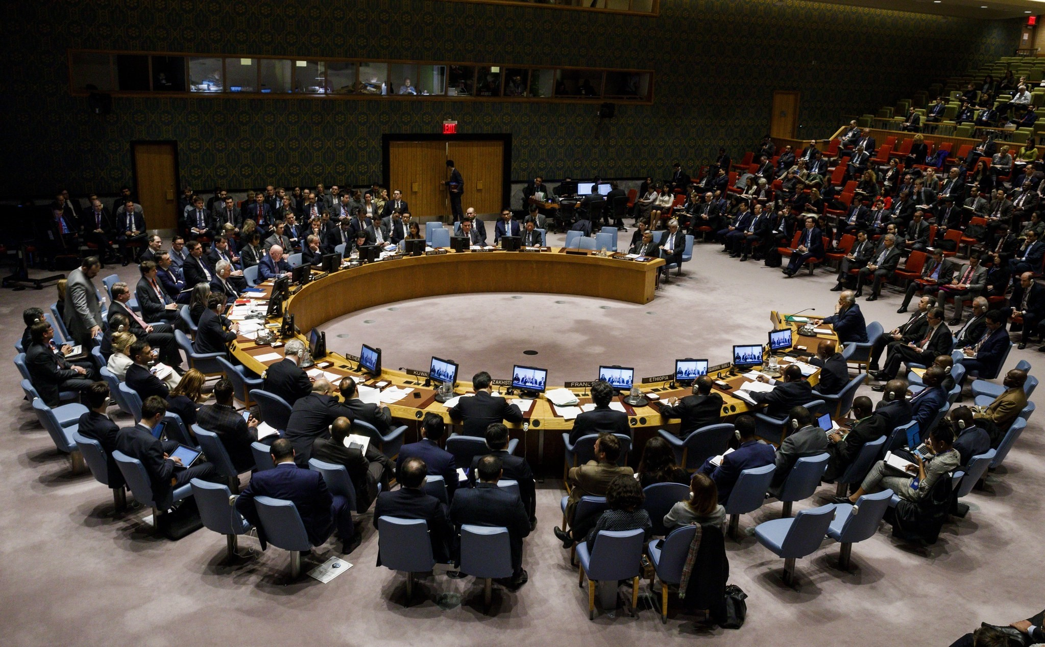 Diplomats gather for an emergency United Nations Security Council meeting in response to a suspected chemical weapons attack in Syria at United Nations headquarters in New York, New York, USA, 09 April 2018. (EPA Photo)