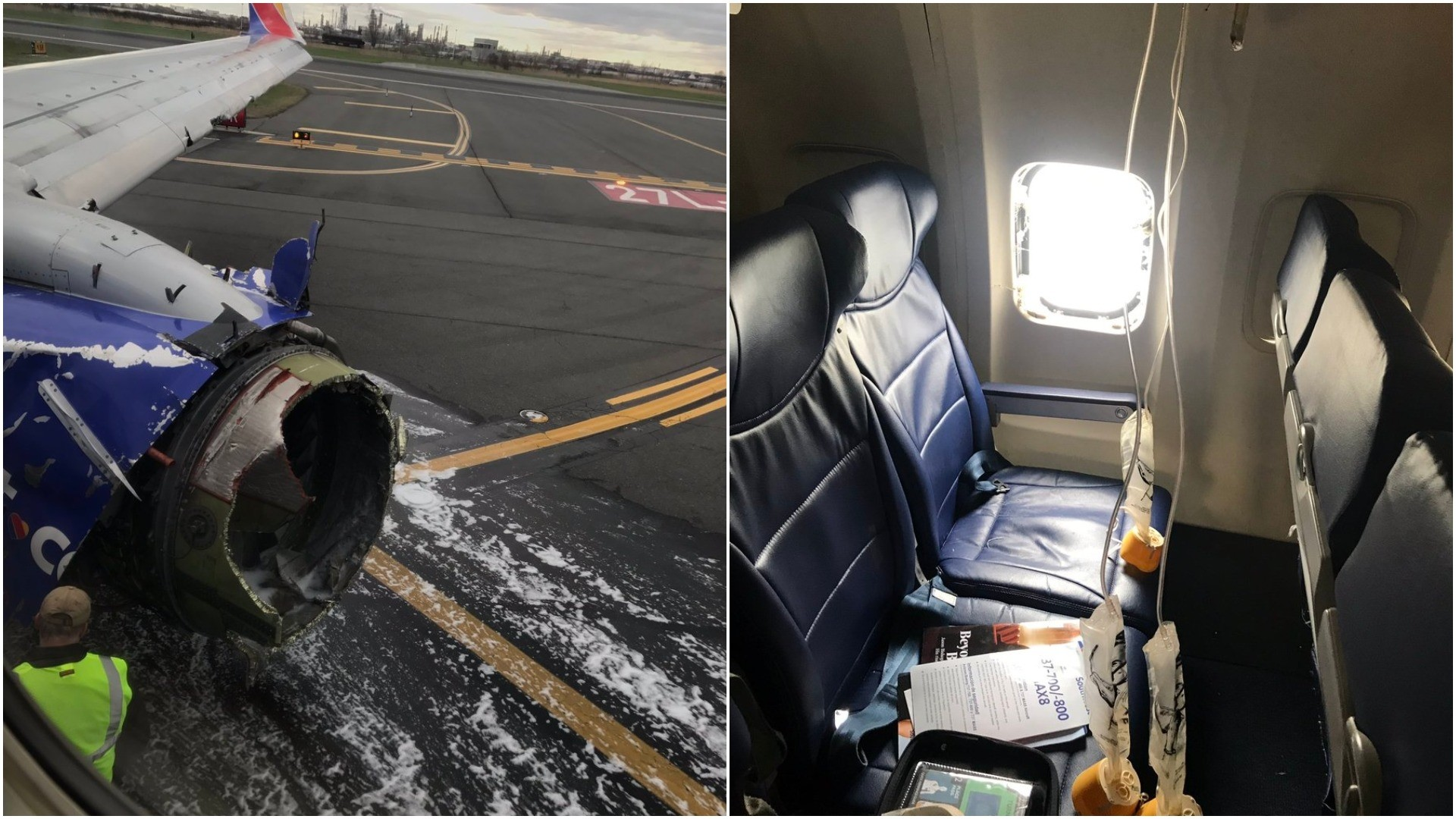 Twitter photos courtesy of Matt Tranchin from Southwest Airlines Flight 1380.