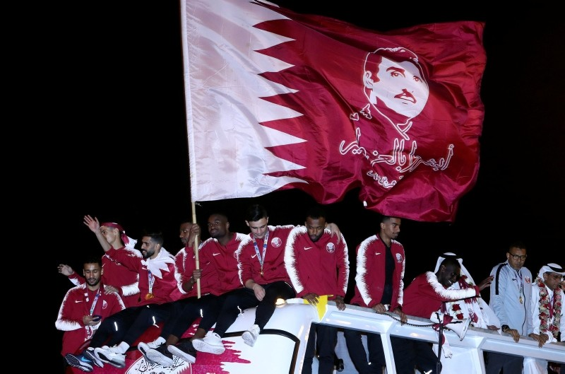 Qatar national football team players celebrate after winning the AFC Asian Cup, in Doha, Qatar, Feb. 2, 2019. (Reuters Photo)