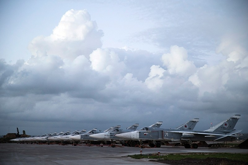 Russian bombers parked at Hemeimeem air base in Syria, March 4, 2016. (AP Photo)