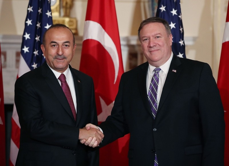 Secretary of State Mike Pompeo, right, meets with Turkish Foreign Minister Mevlut Cavusoglu at the State Department in Washington, Monday, June 4, 2018. (AFP Photo)