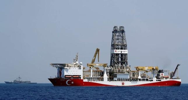 Turkish drilling vessel Yavuz is escorted by the Turkish Navy frigate TCG Gemlik (F-492) in the Eastern Mediterranean Sea off Cyprus, Aug. 6, 2019. (Reuters)