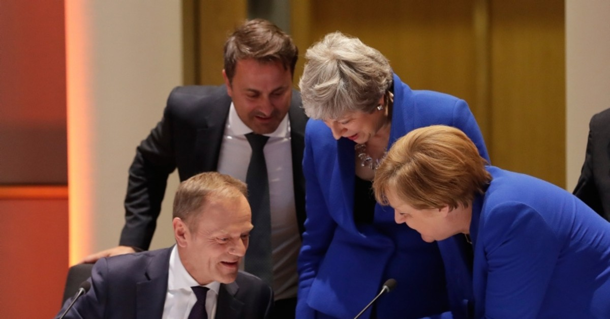 European Council President Donald Tusk, Luxembourg PM Xavier Bettel, British PM Theresa May and German Federal Chancellor Angela Merkel at the start a special EU summit on Brexit at the European Council in Brussels, Belgium, 10 April 2019.