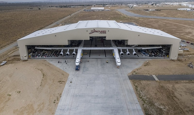 A handout photo made available on 01 June 2017 by Stratolaunch Systems Corp. showing the Stratolaunch aircraft rolling out of its hangar for the first time ever in Mojave, California (EPA Photo)