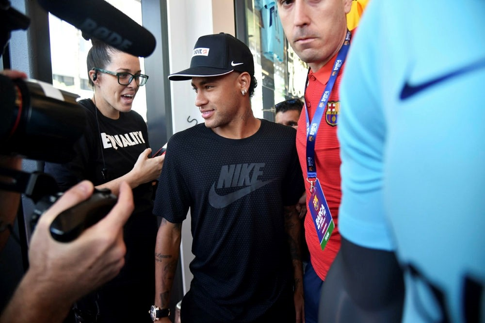 The photo taken on July 28, 2017 in Miami shows then Barcelona's Brazilian forward Neymar taking part in an event. (AFP PHOTO)