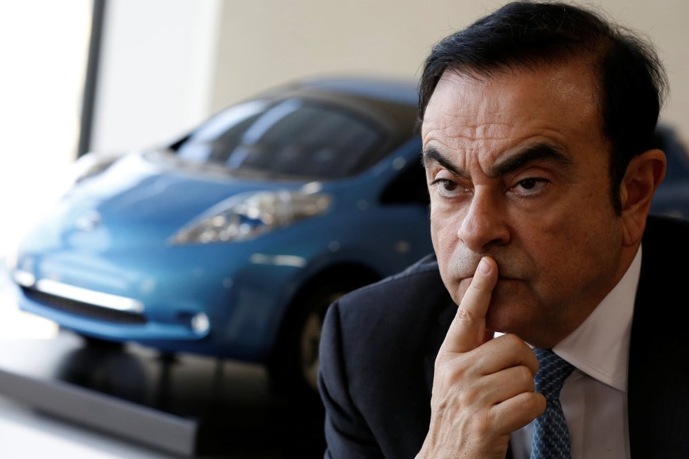 Carlos Ghosn, Chairman and CEO of the Renault-Nissan Alliance, attends an interview at Nissanu2019s global headquarters in Yokohama.