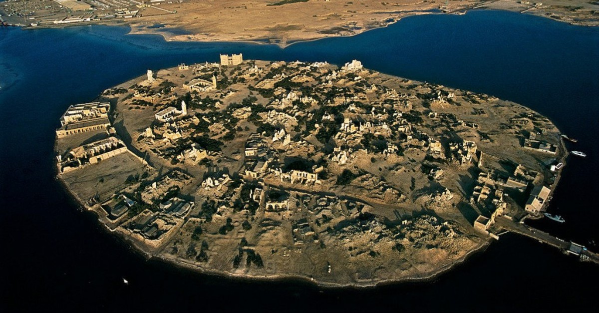 The aerial view of Suakin island, at the crossroads between the Aden Gulf and the Red Sea, Sudan.