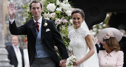 pPippa Middleton, radiant in a custom-made gown, married a wealthy financier Saturday with a party of senior royals, including her sister, looking on./p  pShe and hedge fund manager James...