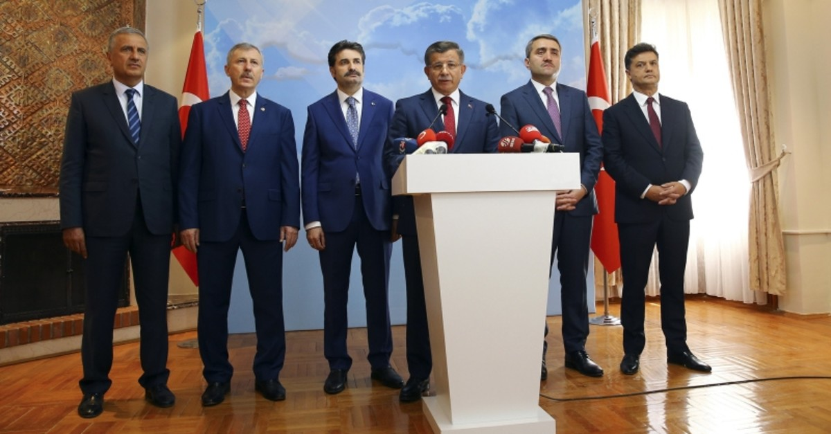 Former Prime Minister Ahmet Davutou011flu holds a press conference announcing his resignation from the AK Party at his office in Ankara, on Sept. 13, 2019. (AA Photo)