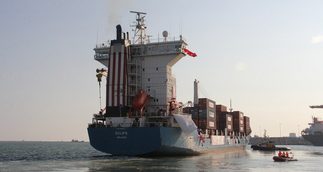 The ship left the port of Mersin Sunday and is scheduled to arrive in Gaza before Eid al-Fitr.