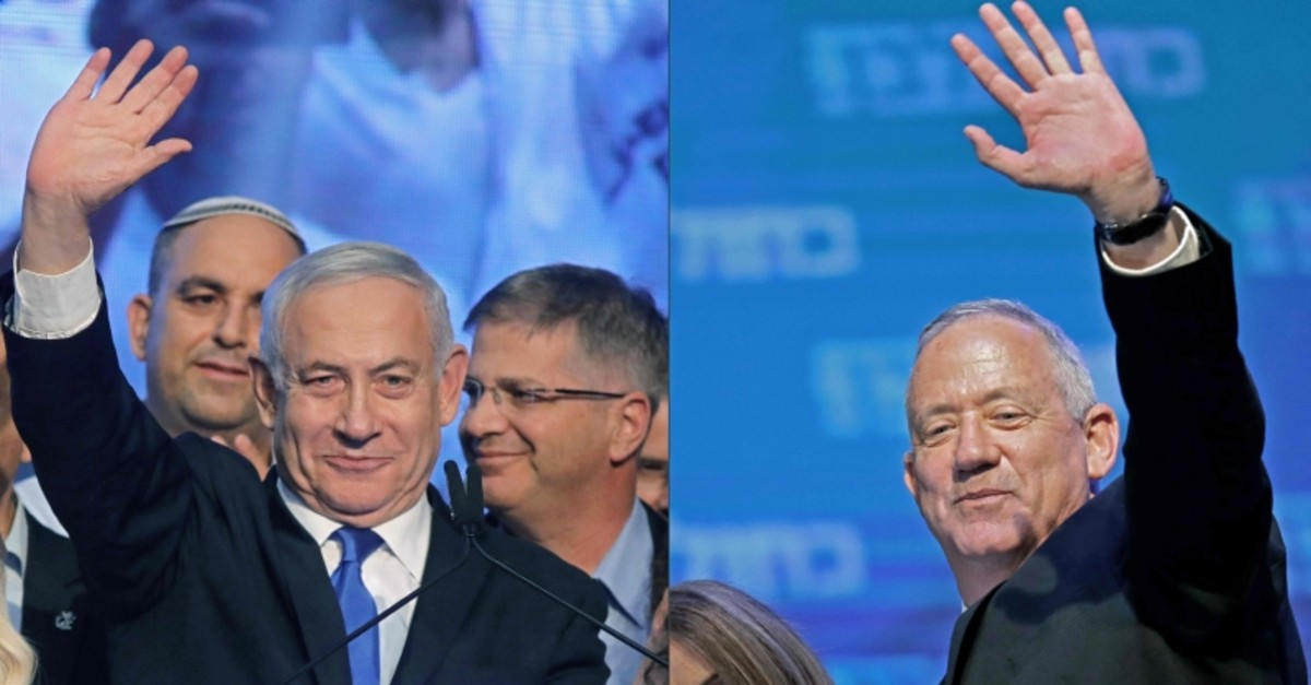 This combination of pictures created on September 18, 2019 shows Israeli PM Benjamin Netanyahu (L) of Likud party, and Benny Gantz of Blue and White political alliance, waving to supporters in Tel Aviv early on September 18, 2019. (AFP Photo)