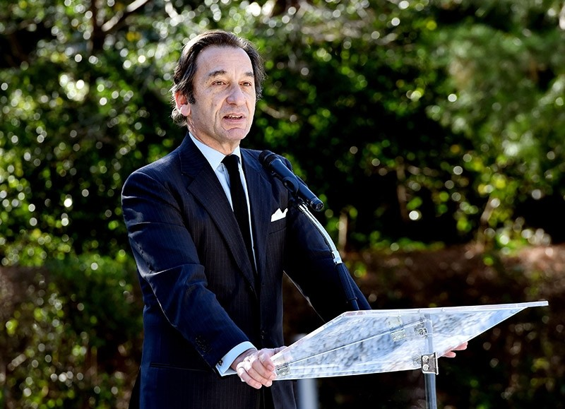 This file photo taken on January 8, 2015 shows French Ambassador to Japan Thierry Dana delivering a at the French ambassador's residence in Tokyo for the Charlie Hebdo attack in Paris that killed 12 people on January 7. (AFP Photo)