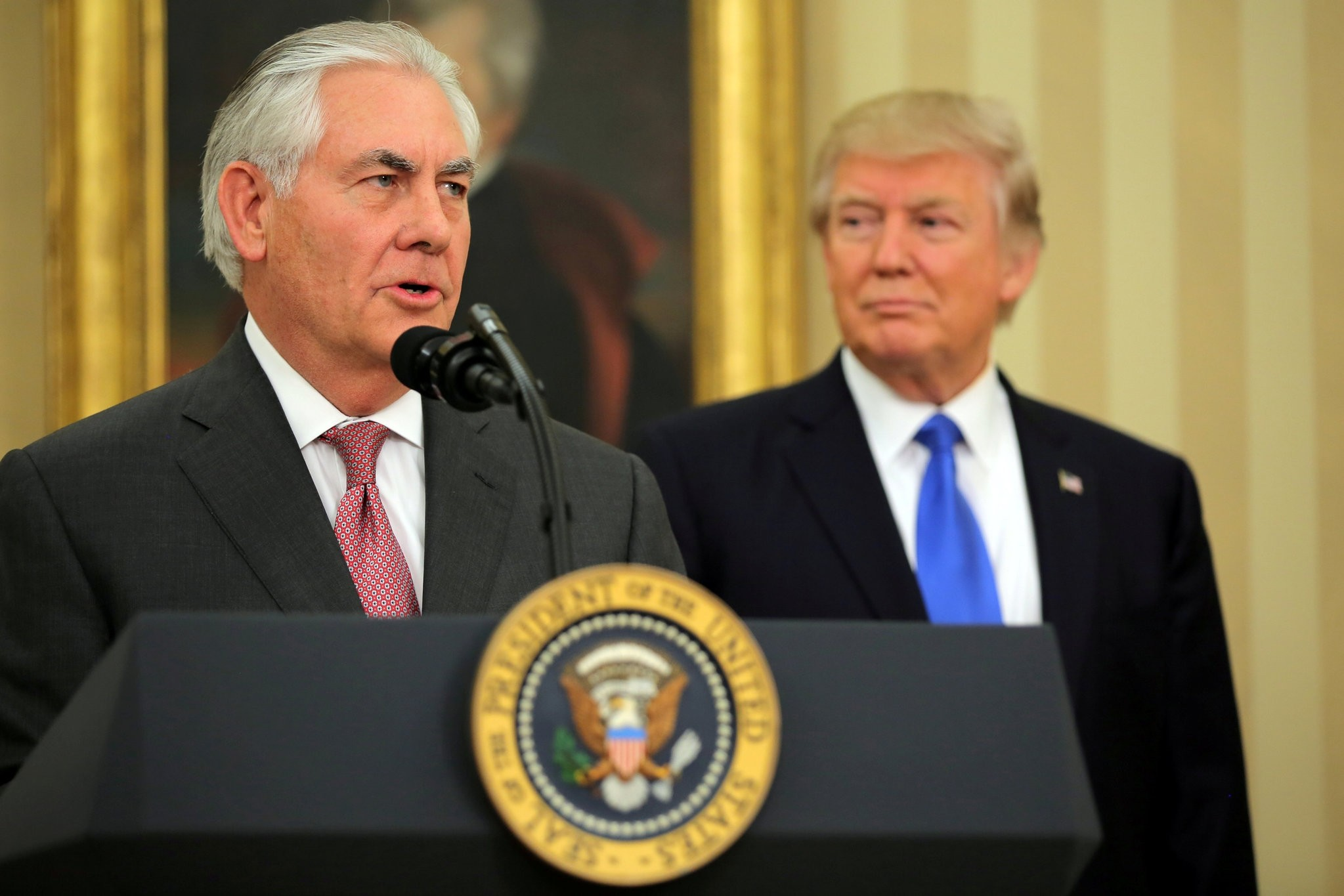 Rex Tillerson speaks after his swearing-in ceremony, accompanied by U.S. President Donald Trump. (Reuters Photo)