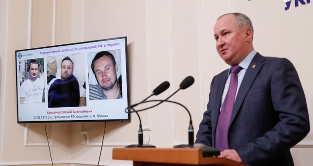 Head of the Security Service of Ukraine (SBU) Vasyl Hrytsak speaks during a news conference, dedicated to the alleged detention of members of a Russian sabotage-reconnaissance group, in Kiev, Ukraine, April 17, 2019. (Reuters Photo)