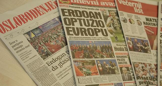 أصداء زيارة أردوغان لسراييفو في صحف البوسنة والهرسك