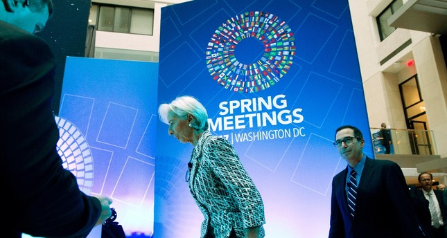 International Monetary Fund Managing Director Christine Lagarde and U.S. Treasury Secretary Steven Mnuchin arrive for a discussion on the U.S. economy during the World Bank/IMF Spring Meetings in Washington.