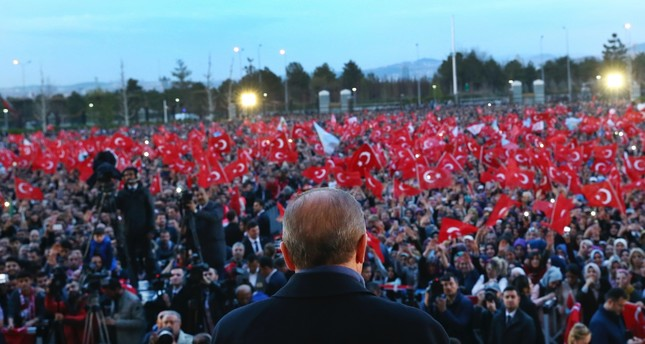 President Recep Tayyip Erdoğan seen delivering a speech during a rally a day after the constitutional referendum, outside the Presidential Complex in Ankara, April 17.